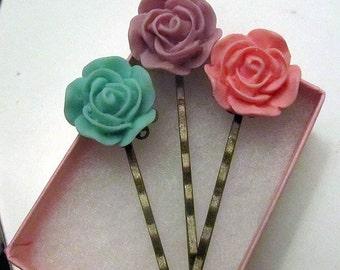 Lilac Trio- Three lilac flowers hair bobby pin