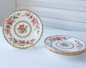 Antique Royal Grafton Fine Bone China -Made in England- MALVERN- Saucer set of 5-Bread and Butter Plates