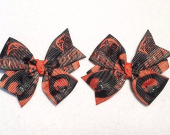 Cleveland Browns Hair Bow Set - Set of 2 Pinwheel Hair Bows on Partially Lined Clips - 2.25 inches - Clippies - Baby Toddler Girls Women