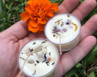 HOPE - Crystal Tea Light Set - Amethyst and Moonstone Aromatherapy Thoughtful Candles