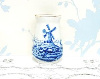 Early Alfred Meakin Smugglers Mill Pattern Vase or Bulb Vase, Flow Blue Vase, Bulb Starter, Flower Vase, Ceramic Vase, Ironstone,  English