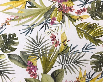 Cotton printed flowers and leaves