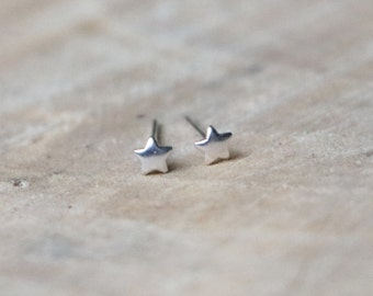 Tiny Star Studs | Star Earrings | Sterling Silver Rose Gold Plated Little Star Stud | Minimal Star Earring | Rose Gold Stars Stud Earrings