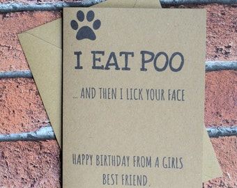 Dog card, Greeting card, Dog lover card, Card from dog, Funny birthday card, Puppy card, From the dog, Dog dad, Dog mum, Card for dog lover,