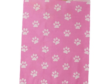 Paper Paw Print Merchandise Bags, Party Favor Bags, Candy Bags - Pink/White - Cute Party Bags, Paper Bags, Animal Treat Bags