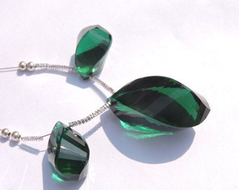 3 Pcs Set AAA Teal Green Quartz Faceted Twisted Long Drops Briolette Size 26*15 - 19*10 MM