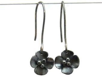 Silver Oxidised Buttercup Drop earrings - lovely black flowers