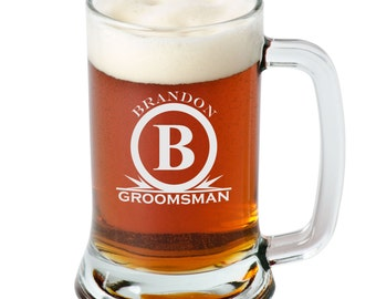 Personalized Beer Mug Groomsman Mug Engraved Mug