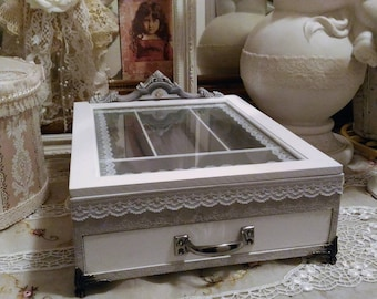 Box covered in white and pale grey, shabby chic Calais lace