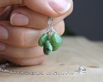 Green Chrysoprase Necklace . Stones for Stress Relief Gifts