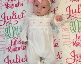 Girl Baby Blanket- Pink baby blanket- Personalized Baby Blanket -  Swaddle Receiving Blanket - Girl Baby Shower Gift - Custom Blanket