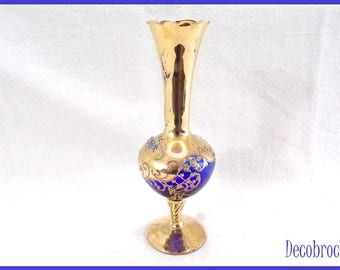 Antique vase cobalt blue and gold fine decor Handmade flowers in relief shabby chic vintage made in Italy