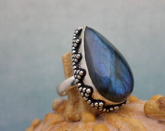 Ring in 925 Silver and Labradorite (BA168)