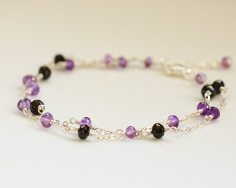 AAA Amethyst and Black Spinel Bracelet - Sterling Silver, Purple, Water Sapphire, Double Strand, February Birthstone, Adjustable