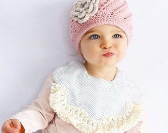 Crochet Hat for Girls Baby Toddler Kids Beanie Pink Flower Hat