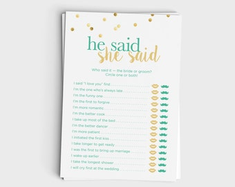 Wedding Shower Game - He Said She Said / Guess Who Said It - Mint & Glitter Design - Instant Download - 5x7 Printable