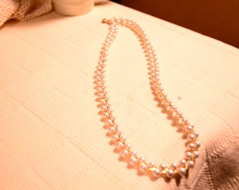 """Pearl Necklace / two strands / entwined gold chain / 24"""" long / made in Korea / Korea / vintage costume /vintage necklace / vintage pearls"""
