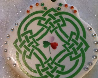 Irish Celtic Knot with irish blessing holiday ornament