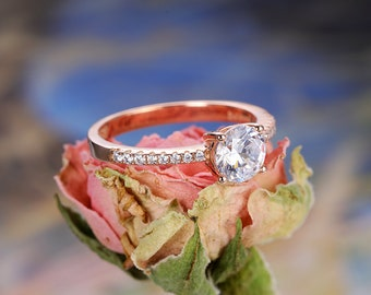 Moissanite engagement ring rose gold vintage women half eternity Bridal wedding band unique antique Mother's Day Anniversary gift for her
