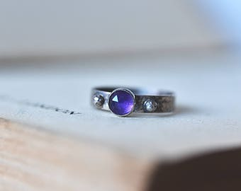 Outlander jewelry - Outlander ring - Purple stone ring -  Natural amethyst ring - Scottish gift - Scottish thistle jewelry - Scottish ring