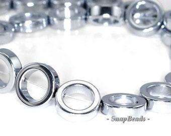 12mm Silver Hematite Gemstone Silver Halo Circle Loose Beads 7 inch Half Strand (90147203-148)