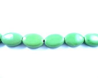 2 large porcelain beads, oval shape green stone, ceramic beads, porcelain bead