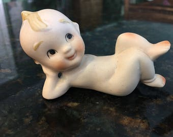 Vintage Bisque Kewpie Doll Figurine Laying on Side, Propped up on arm, Burt Reynolds style