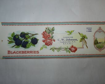 Blackberry Can Labels - Lot of 10 Vintage unused labels for Canned Blackberries - Packed for C. W. Johnson Yadkinville, NC Advertising S-A12