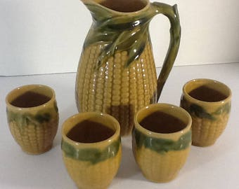 Vintage Corn Pitchers & and 4 cups