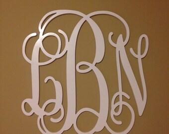 "Wall Monogram - Wooden Monogram - Wall Hanging - Painted Wood Monogram - Nursery Decor 24"""