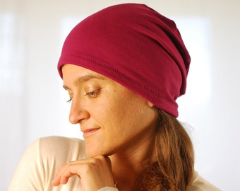 Eco Friendly Beanie - Slouchy Hat - Boho - Women - Bright Berry - Organic Clothing  - Ready to Ship