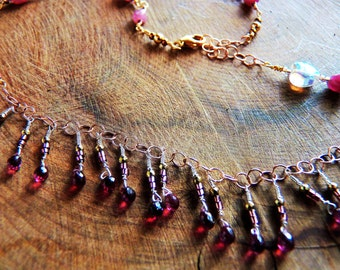 Pink Tourmaline and Rubellite Necklace, Womens dainty necklace, Handmade tourmaline chain in 14K gold filled wire,