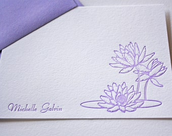 Personalized Letterpress Stationery  Lotus Blossoms Purple Script Font