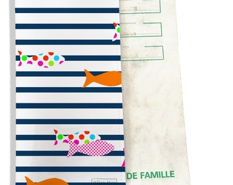 Protects family pattern colorful fish sailor Navy P2357 REF.