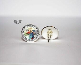 Saint Christopher earrings, Patron of Travelers stud earrings, Protect us earrings, Art Gifts, fan gift