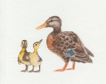 Mother Duck and Ducklings - hand painted greeting cards