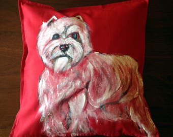 West Highland Terrier - hand painted cushion cover red