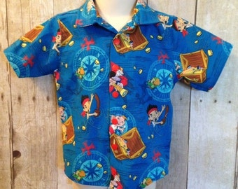 Boys jake and the neverland pirates button down collared shirt size 3 months- 10 years