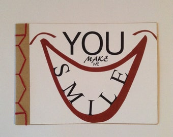 You Make Me Smile Encouraging Greeting Card Hand Made Japanese Hand Bound Unique