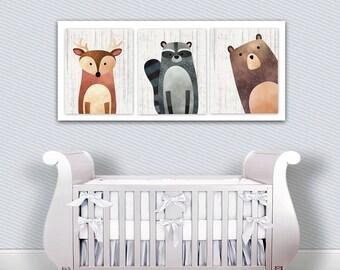 Woodland Creatures Nursery Decor - Deer - Bear - Raccoon - Large Nursery Print - Woodland Nursery