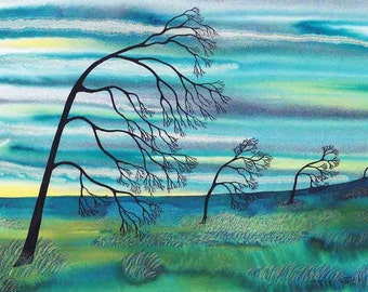 """Art Print: """"Four trees bending"""" -A3 landscape print, wall art, tree print, turquoise art, bare trees, from an original painting by Liz Marsh"""
