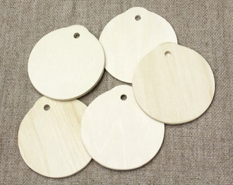 Wedding Favour Tags//Round Wood gift tags - natural wood round shape -  5 gift tags