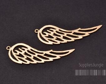 P344-MG// Matt Gold Plated Angel Wing Pendant, 2pcs