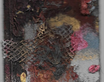 Soft Spots In The Dark - Painting Collage Art Hybrid Creature with furry arteries, dark red, pink gum color - one of a kind, unique