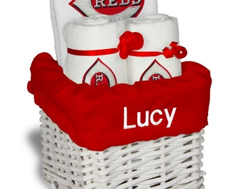 Personalized cleveland indians baby gift basket bib 2 burp personalized cincinnati reds baby gift basket bib 2 burp cloths small negle Image collections