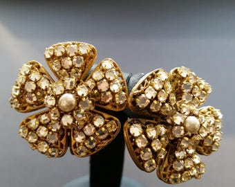 Sign Miriam Haskell Rhinstone Baroque Pearls Post Earrings Jewelry
