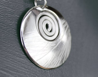 Spiral Feather Silver Pendant, Sterling Silver Abstract Jewellery