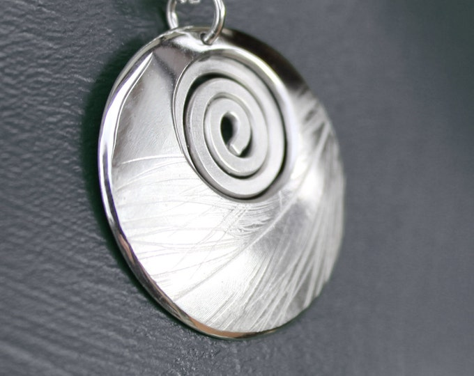 Spiral Pendant, Feather Pendant, Silver Pendant, Sterling Silver Necklace.