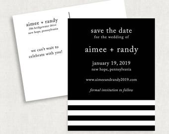 Stripe Save the Date Postcards, Black and White Save the Date Postcards, Modern Save the Date Postcards, Simple Save the Date Postcards, PDF