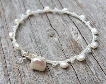 Boho Brides Bracelet, Crocheted Bridal Jewelry, Bridesmaid Gift, Boho Bride Jewelry, Beach Wedding Jewelry, Dainty Crocheted Brides Bracelet